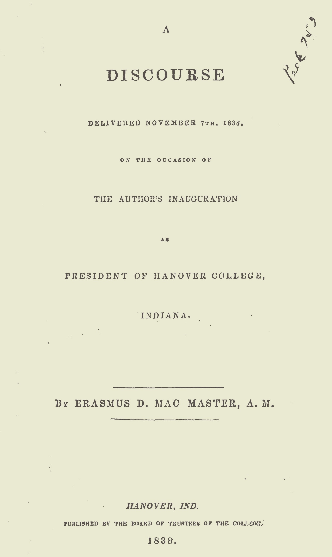 McMaster, Erasmus Darwin, An Inaugural Discourse Delivered November 7th, 1838 Title Page.jpg