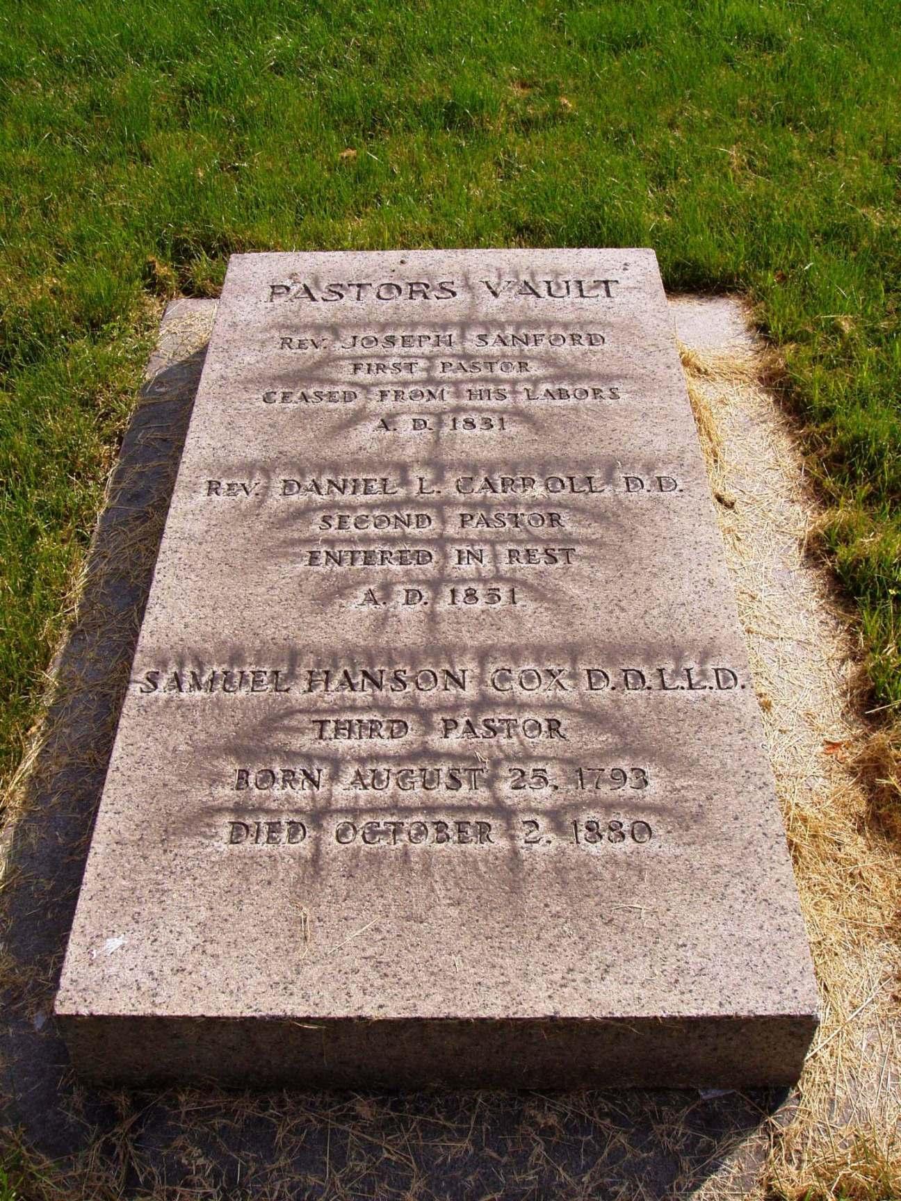 Samuel Hanson Cox is buried at Green-Wood Cemetery, Brooklyn, New York.