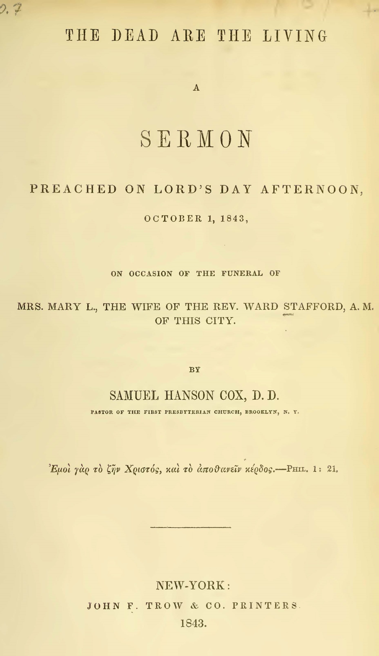 Cox, Samuel Hanson, The Dead are the Living Title Page.jpg