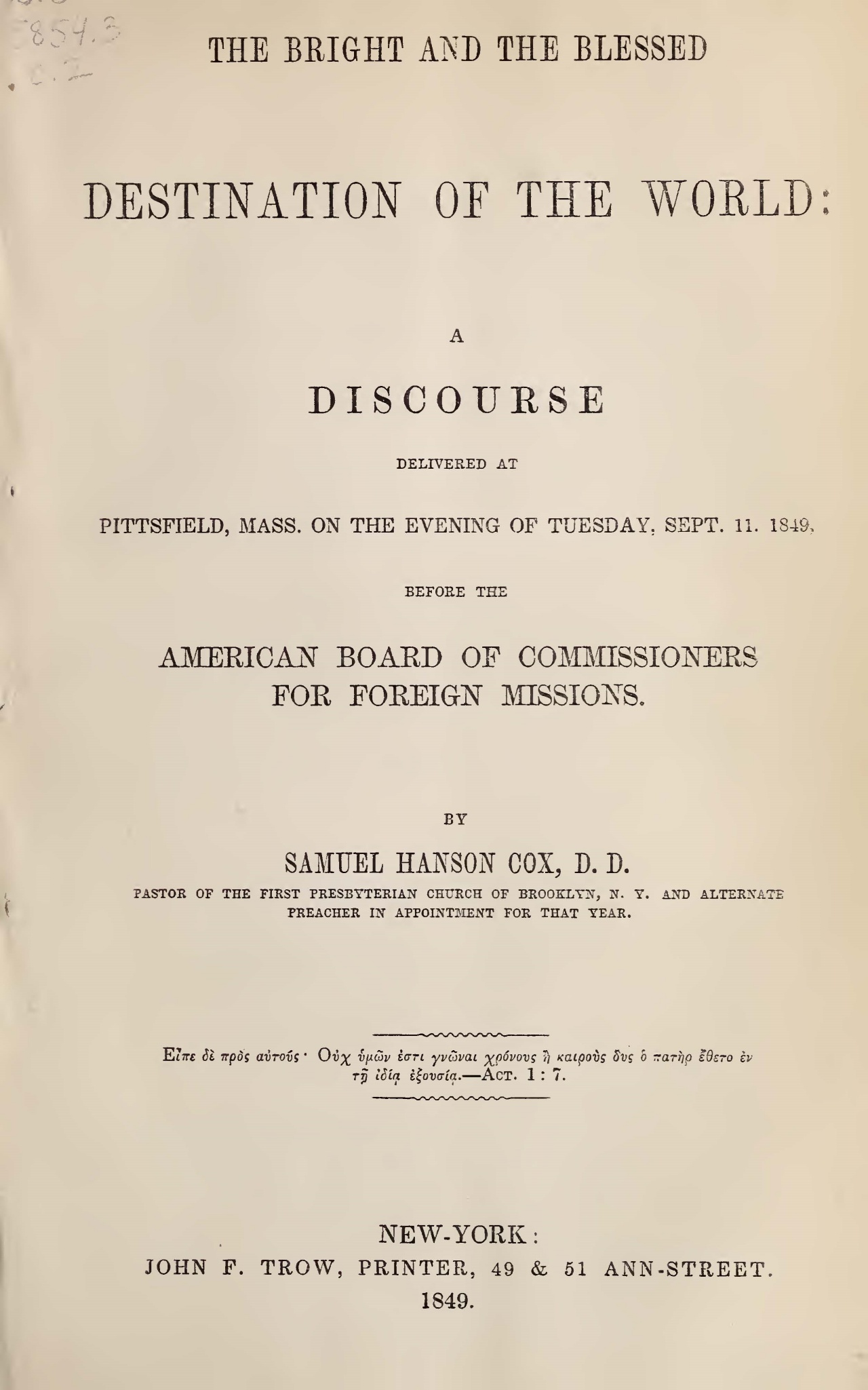 Cox, Samuel Hanson, The Bright and the Blessed Destination of the World Title Page.jpg