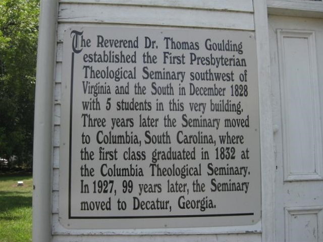 Thomas Goulding  helped to found in Lexington, Georgia, what became known as Columbia Theological Seminary.