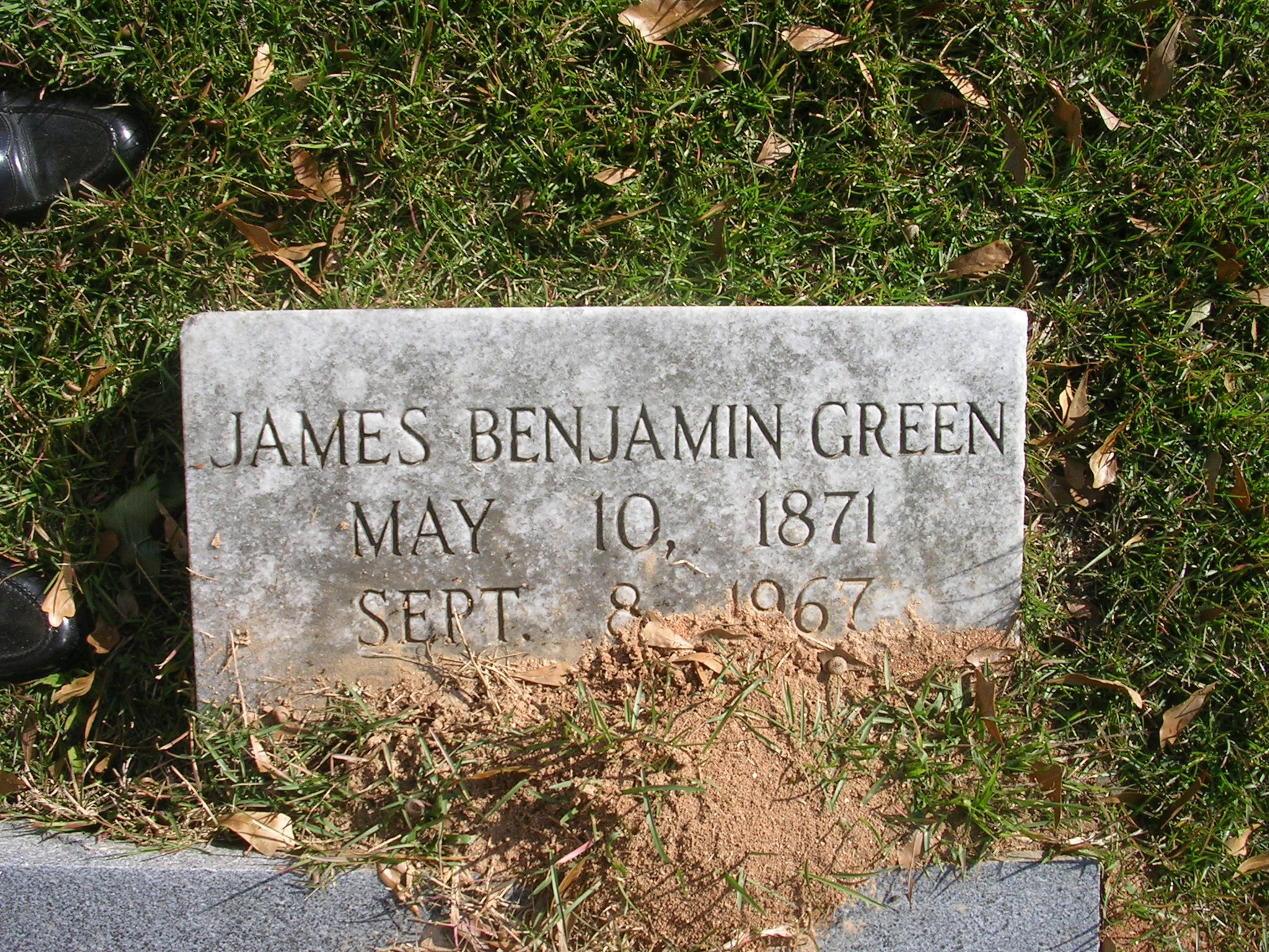 James Benjamin Green is buried at Decatur Cemetery, Decatur, Georgia.