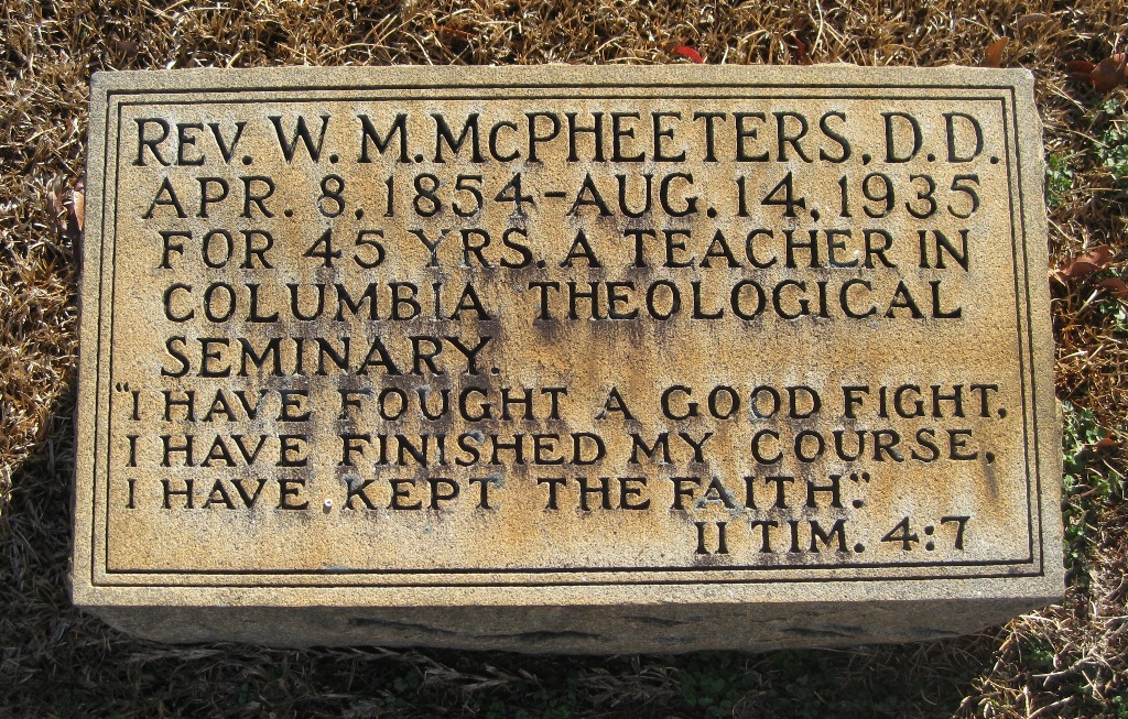 William Marcellus McPheeters is buried at Elmwood Cemetery, Charlotte, North Carolina.