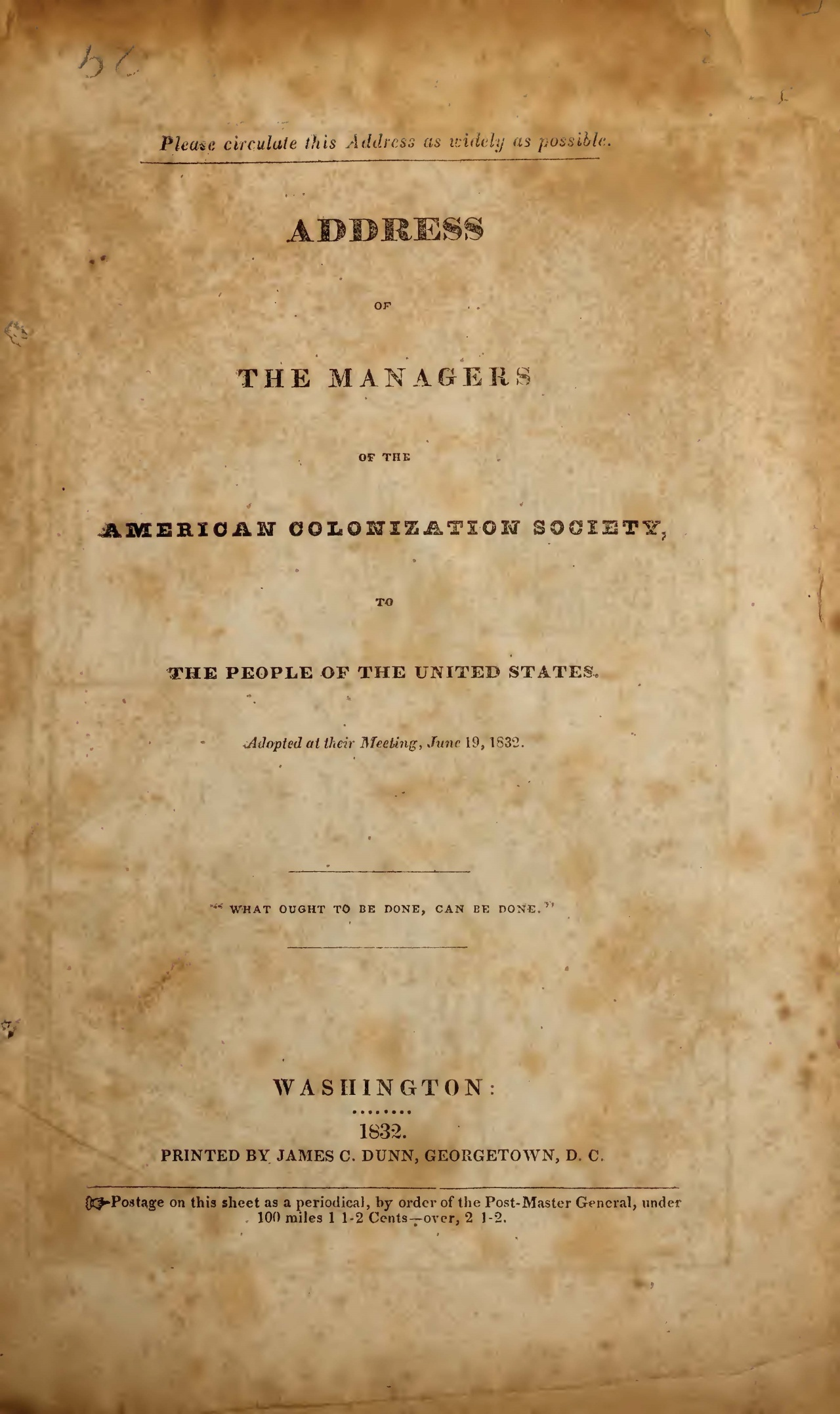 Gurley, Ralph Randolph, 1832 Address of the Managers of the ACS Title Page.jpg