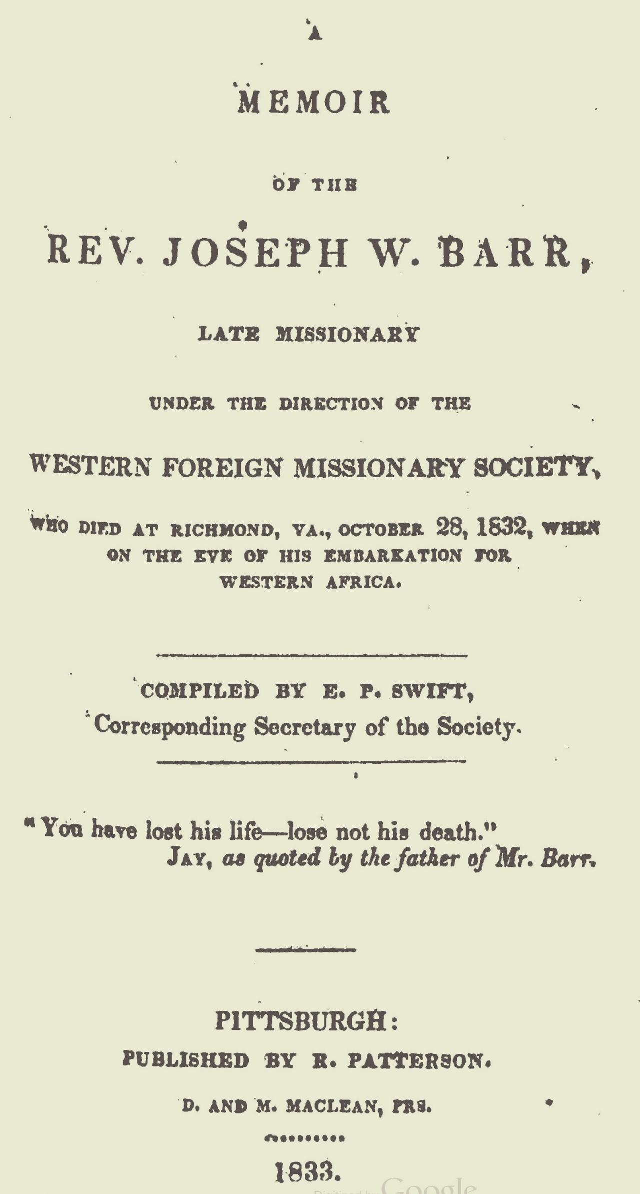 Swift, Elisha Pope, A Memoir of the Rev. Joseph W. Barr Title Page.jpg