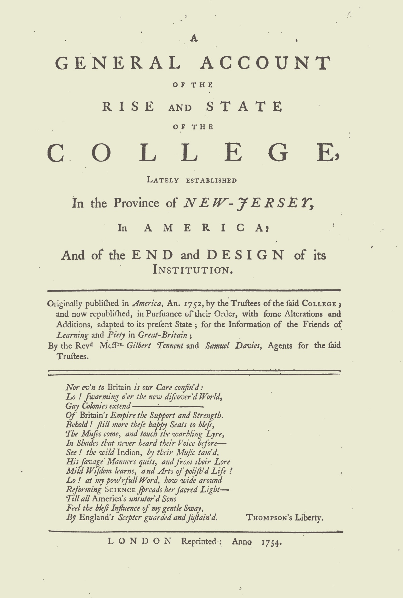 Davies, Samuel, A General Account of the Rise and State of the College Title Page.jpg