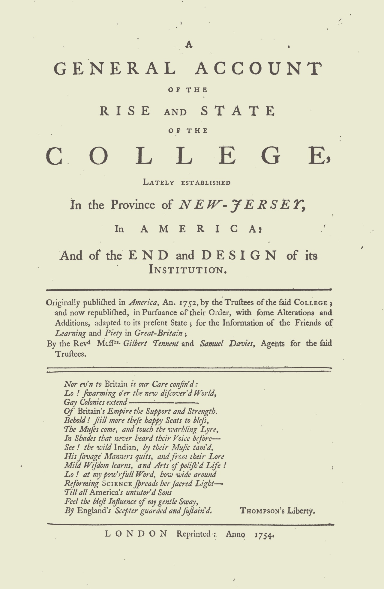 Tennent, Gilbert, A General Account of the Rise and State of the College Title Page.jpg