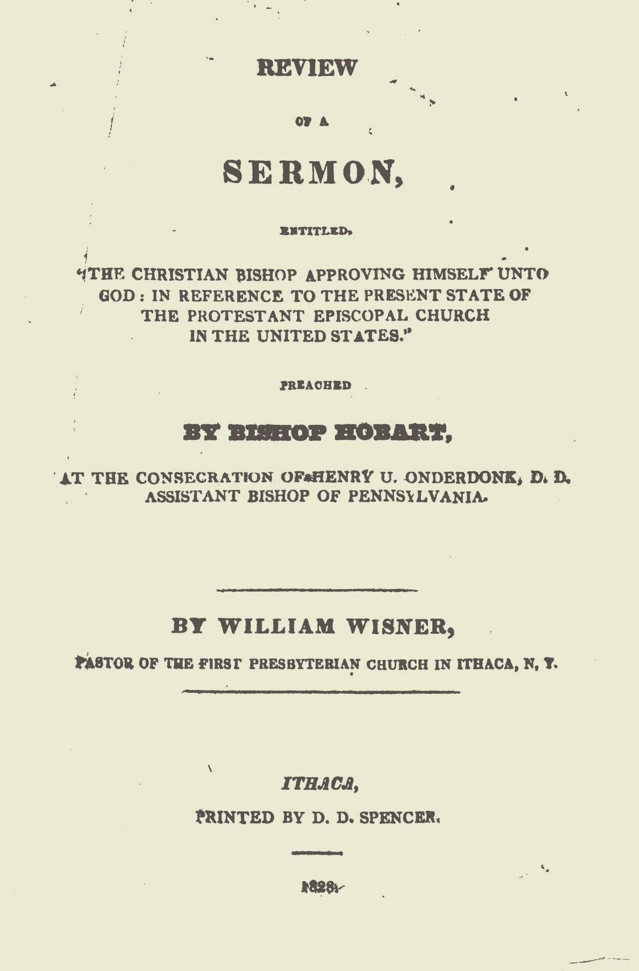 Wisner, William, Review of a Sermon Title Page.jpg