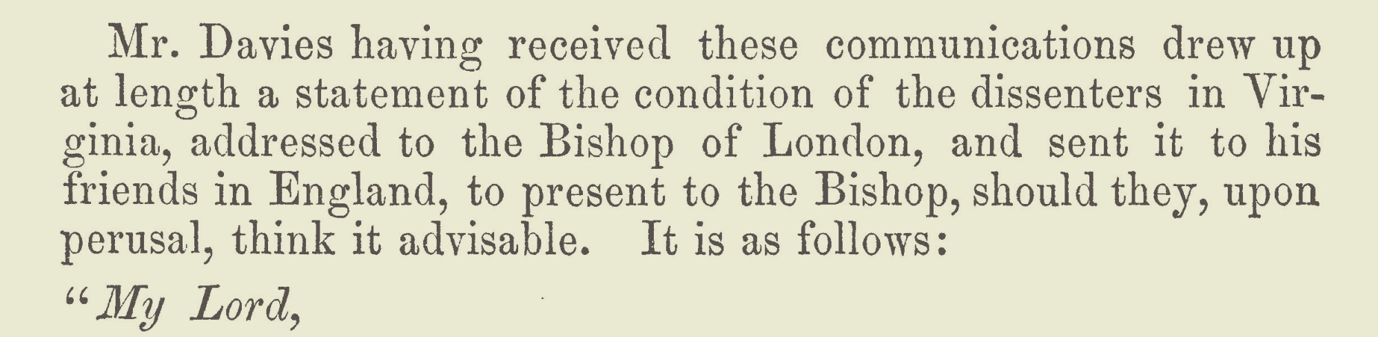 Davies, Samuel, January 10, 1752 Letter to the Bishop of London Title Page.jpg