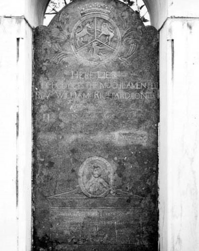 William Richardson is buried at the Old Waxhaw Presbyterian Church Cemetery, Riverside, South Carolina.
