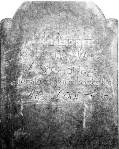 The obverse of his tombstone notes the funds he bequeathed to purchase religious books for the poor.
