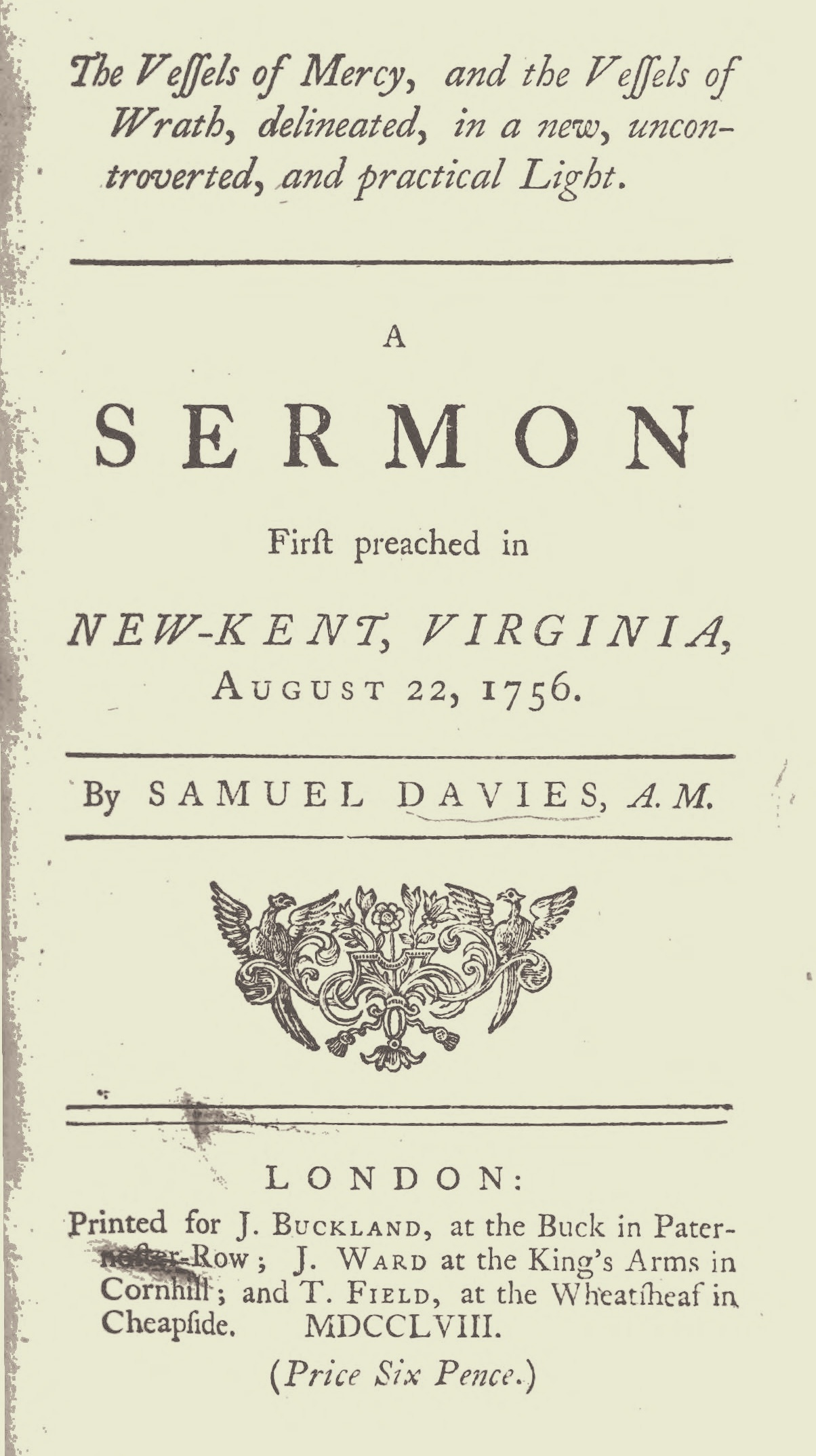 Davies, Samuel, The Vessels of Mercy, and the Vessels of Wrath Title Page.jpg