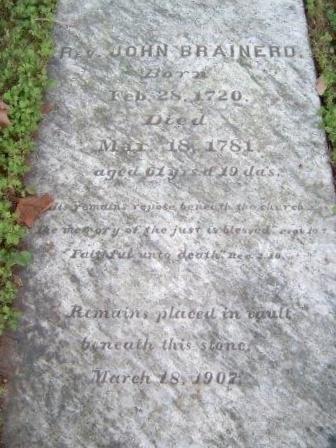 John Brainerd is buried at Deerfield Presbyterian Cemetery, Deerfield, New Jersey.