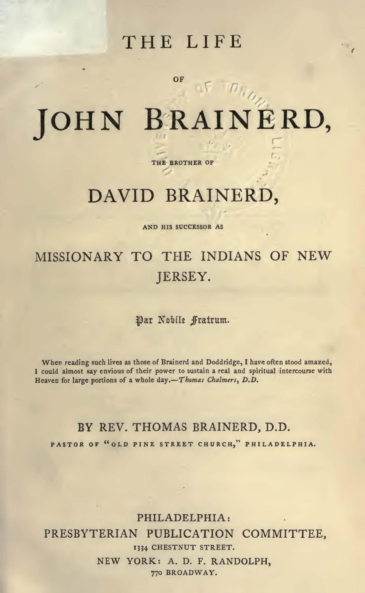 Brainerd, Thomas, The Life of John Brainerd Title Page.jpg