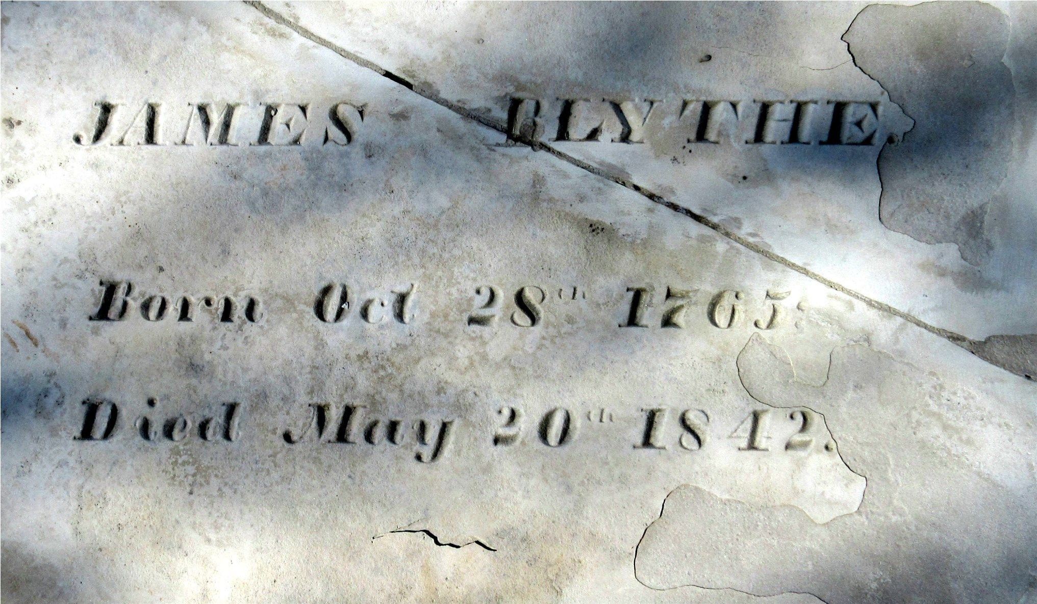 James Blythe is buried at Hanover Cemetery, Hanover, Indiana.
