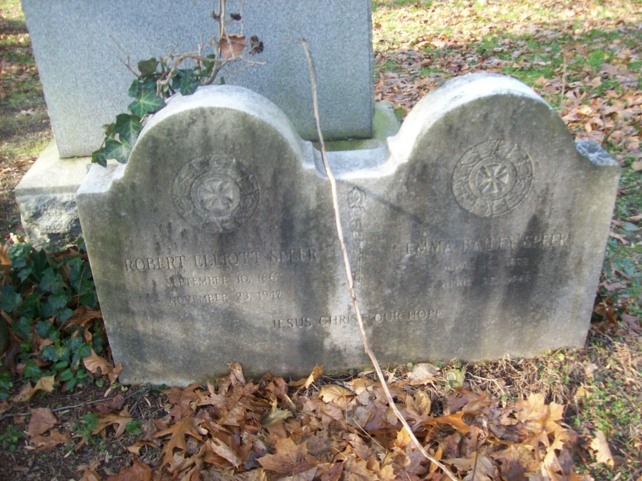 Robert Elliott Speer is buried at Brookside Cemetery, Englewood, New Jersey.