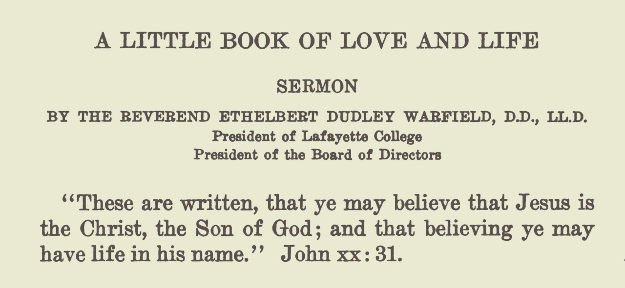 Warfield, Ethelbert Dudley, A Little Book of Love and Life Title Page.jpg