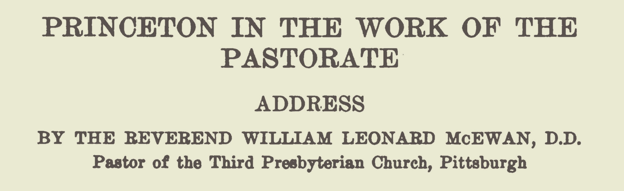 McEwan, William Leonard, Princeton in the Work of the Pastorate Title Page.jpg