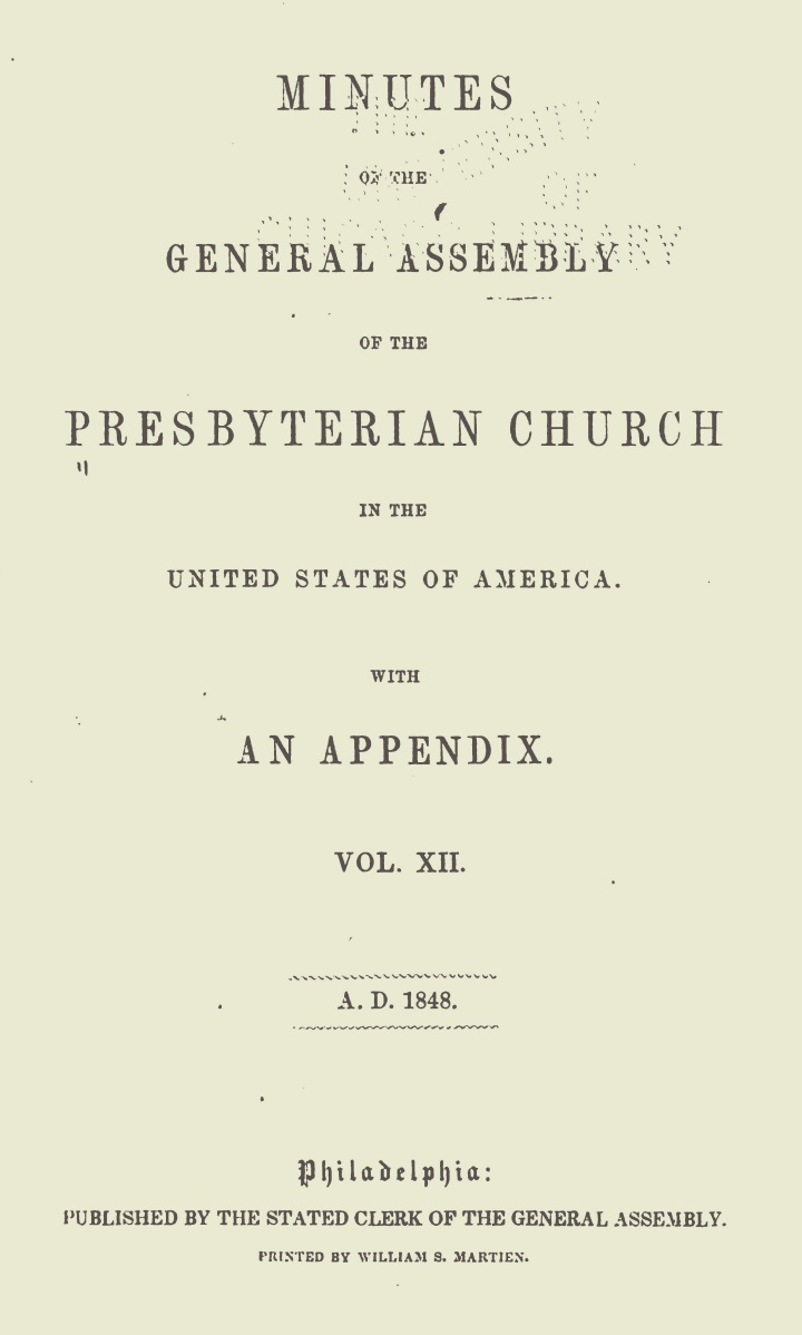Minutes of the General Assembly PCUSA, 1848 Title Page.jpg
