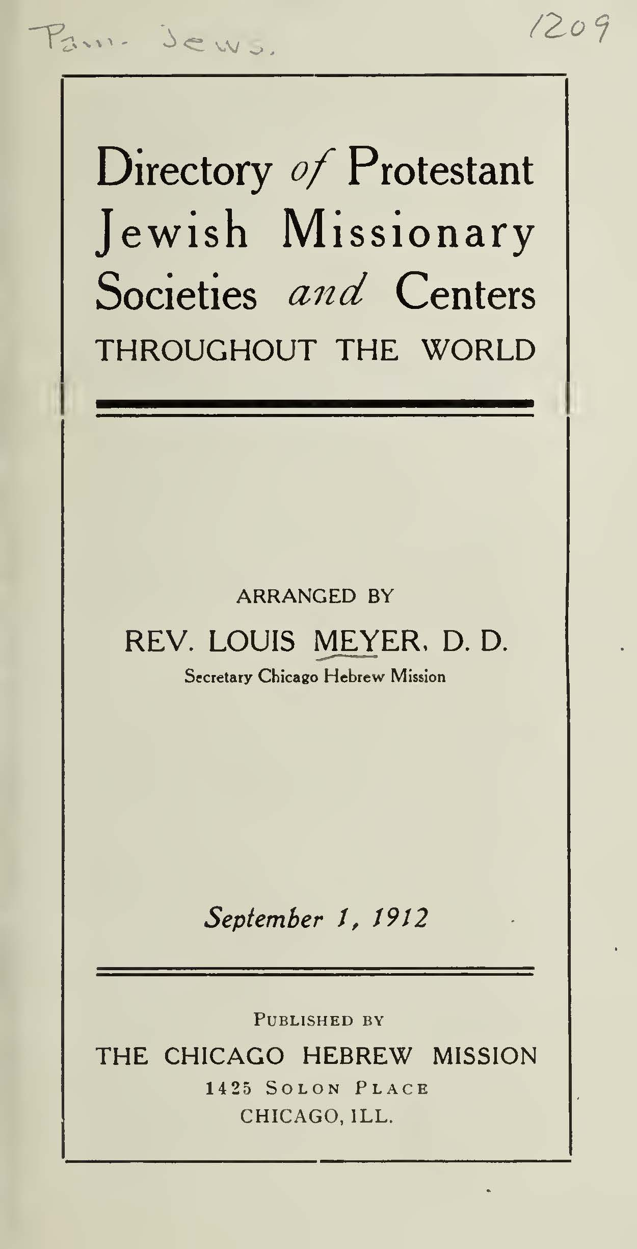 Meyer, Louis, Directory of Protestant Jewish Missionary Societies and Centers Throughout the World Title Page.jpg