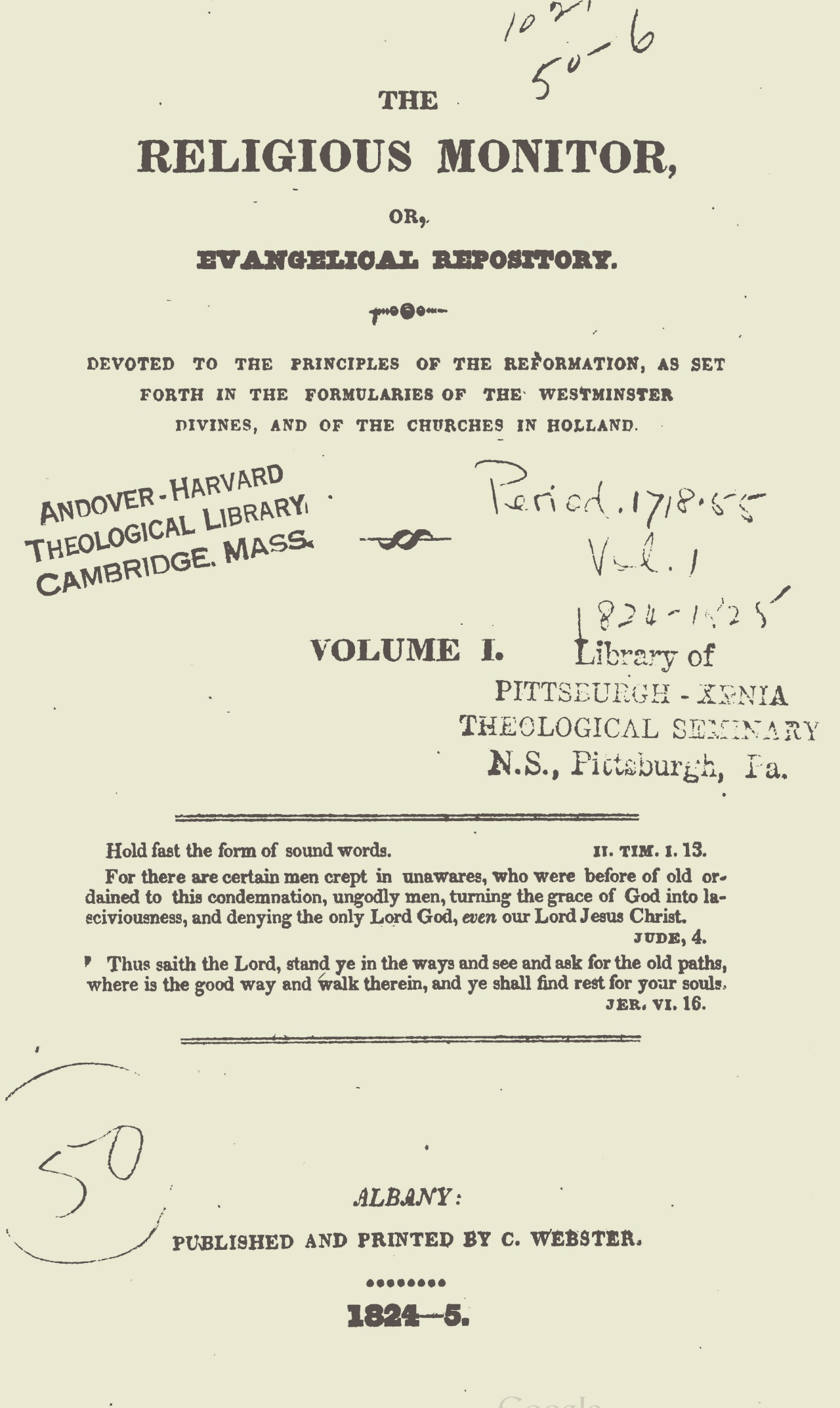 Webster, Chauncey, The Religious Monitor, and Evangelical Repository, Vol. 1 Title Page.jpg