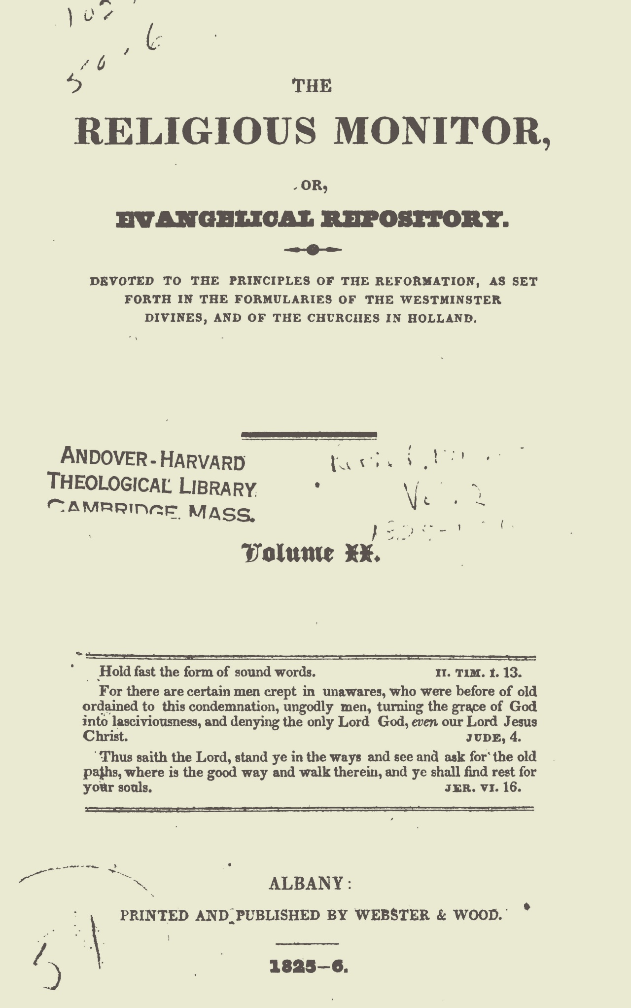 Webster, Chauncey, The Religious Monitor, and Evangelical Repository, Vol. 2 Title Page.jpg