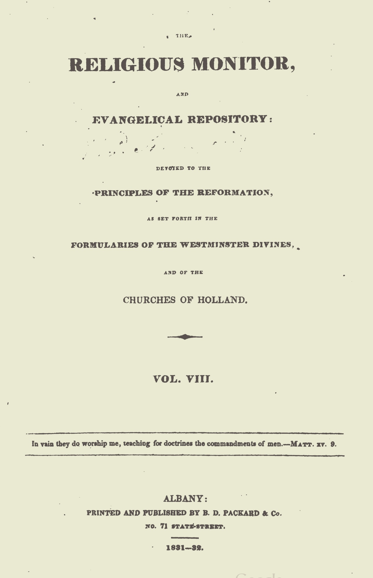 Webster, Chauncey, The Religious Monitor, and Evangelical Repository, Vol. 8 Title Page.jpg