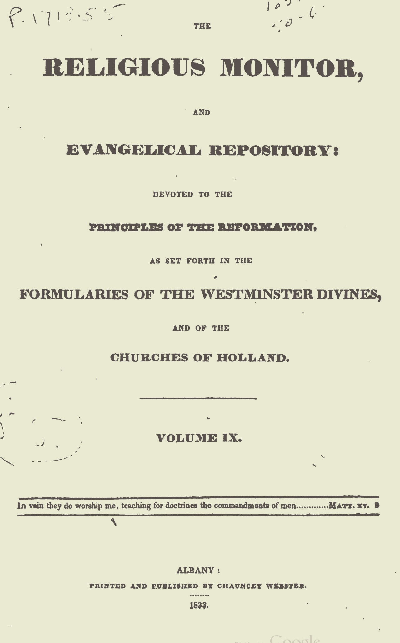 Webster, Chauncey, The Religious Monitor, and Evangelical Repository, Vol. 9 Title Page.jpg