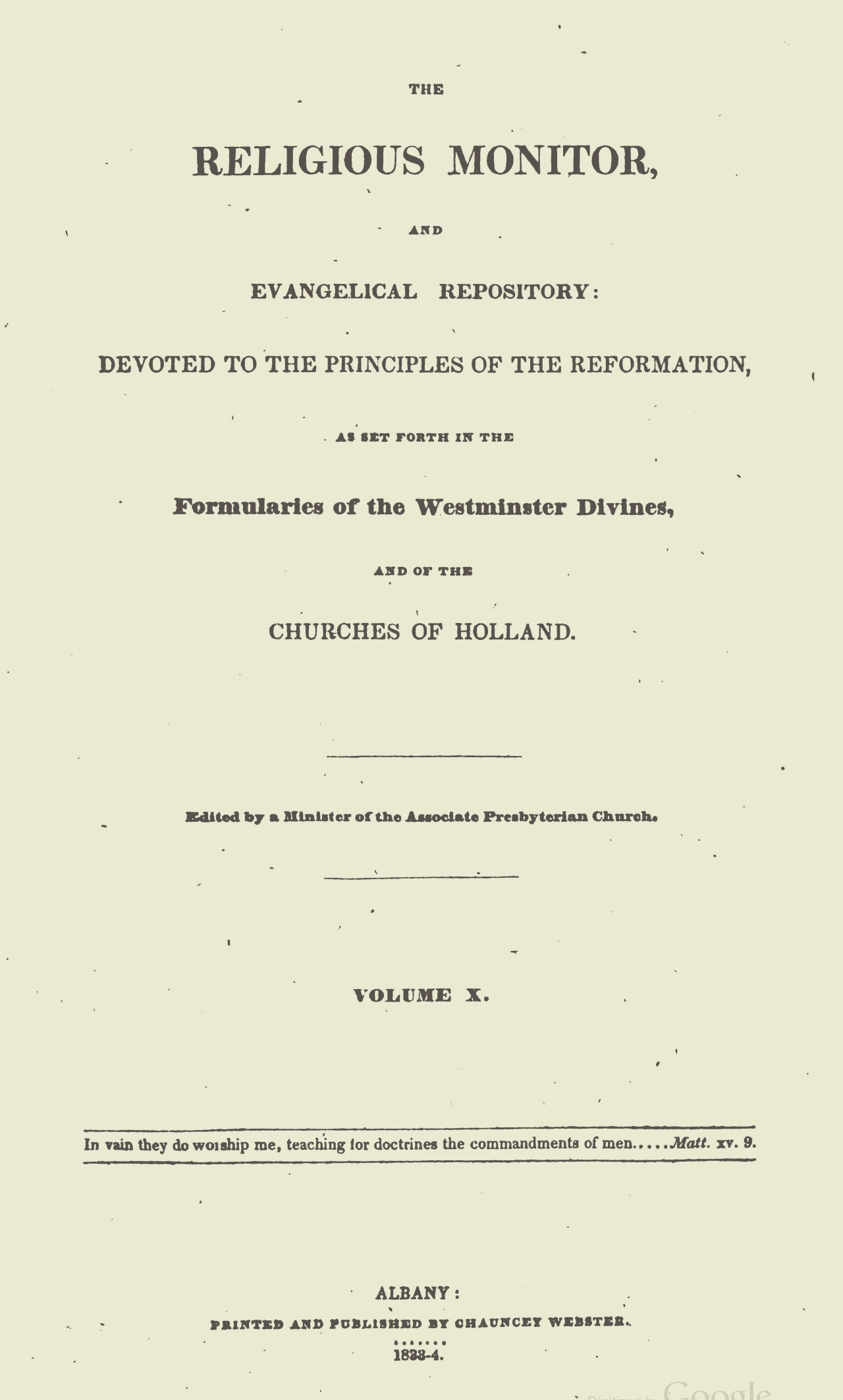 Webster, Chauncey, The Religious Monitor, and Evangelical Repository, Vol. 10 Title Page.jpg