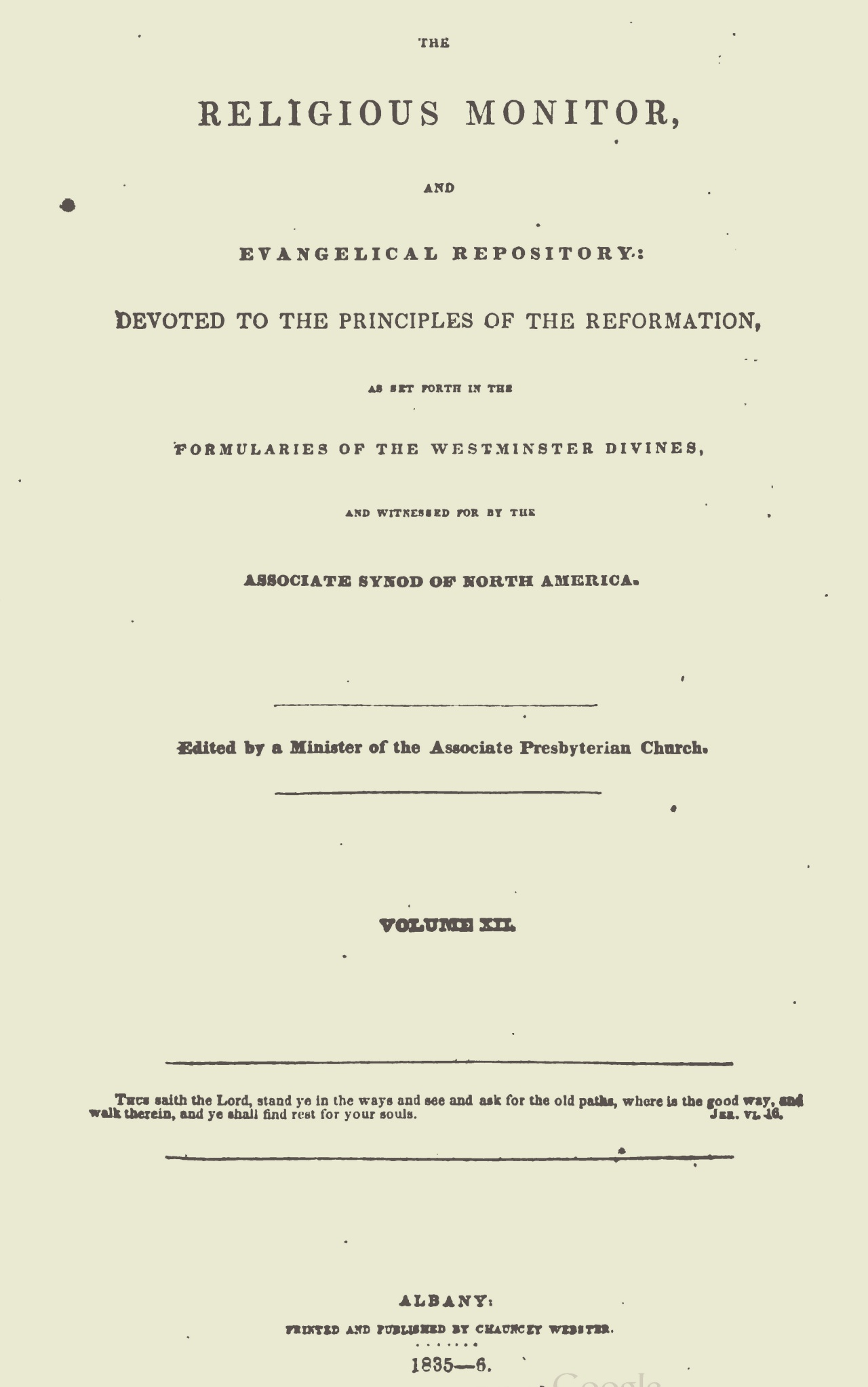 Webster, Chauncey, The Religious Monitor, and Evangelical Repository, Vol. 12 Title Page.jpg