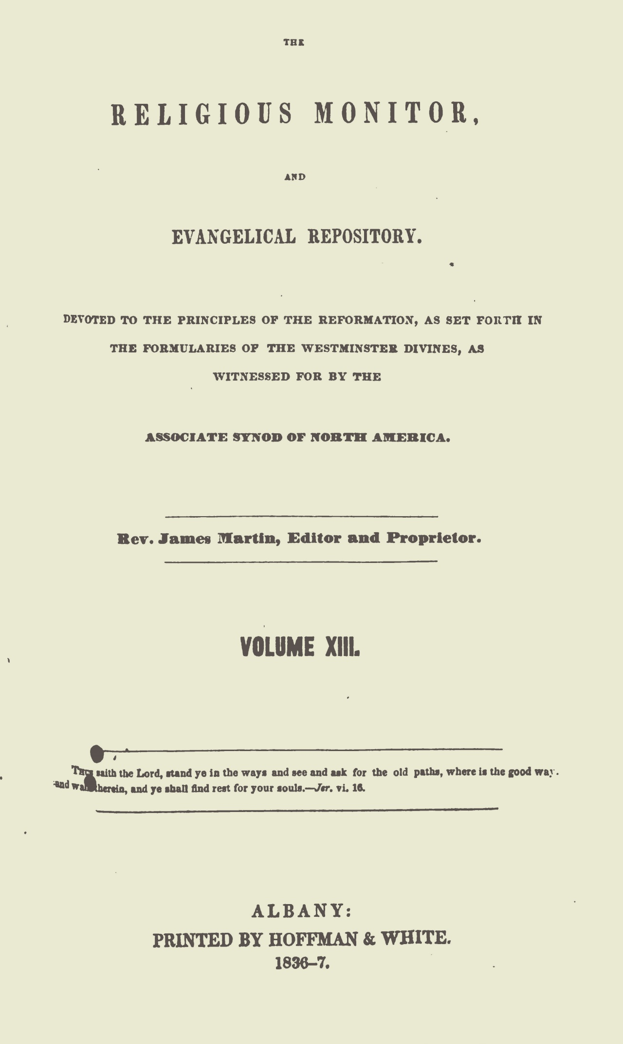 Webster, Chauncey, The Religious Monitor, and Evangelical Repository, Vol. 13 Title Page.jpg