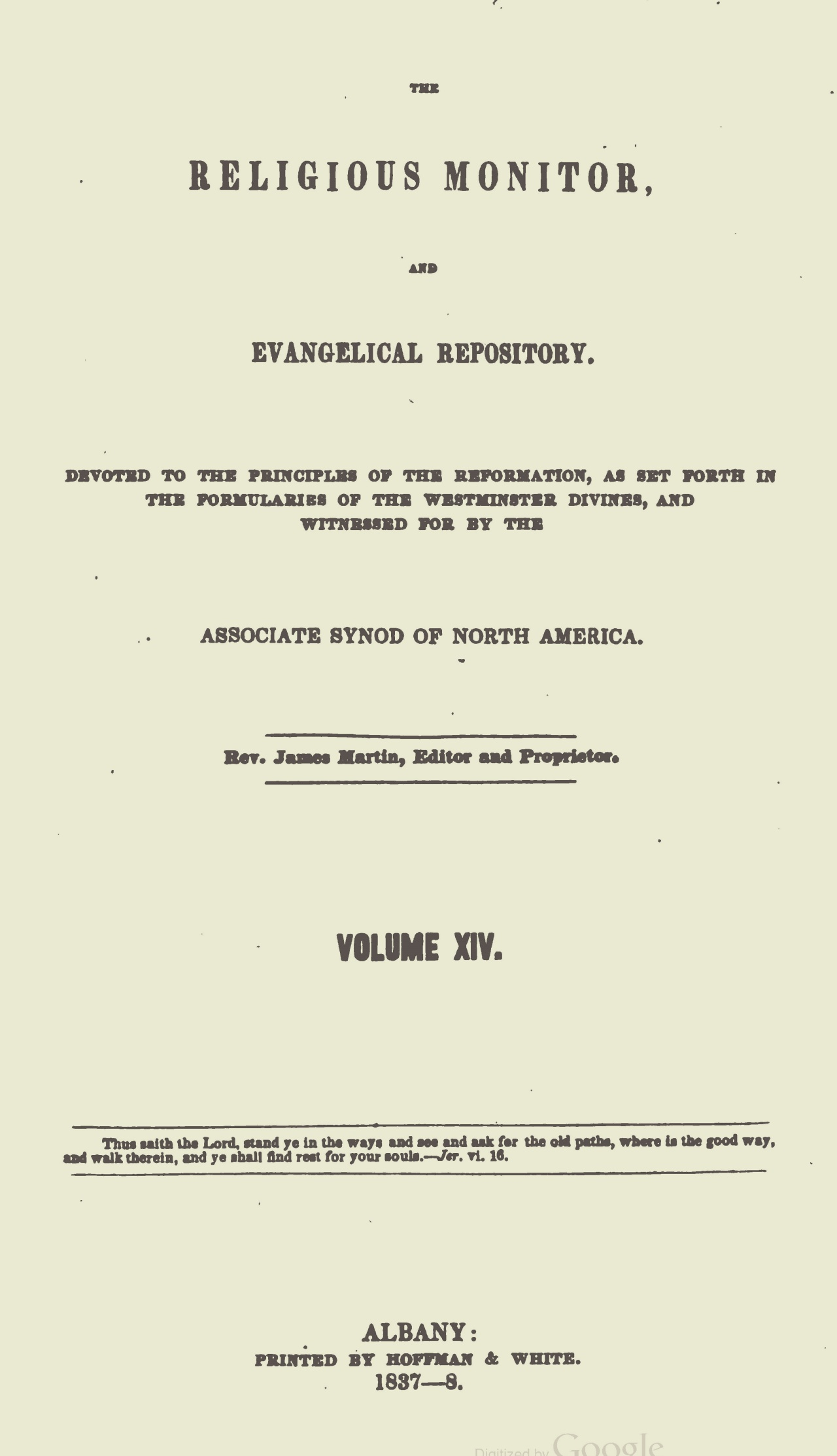 Webster, Chauncey, The Religious Monitor, and Evangelical Repository, Vol. 14 Title Page.jpg