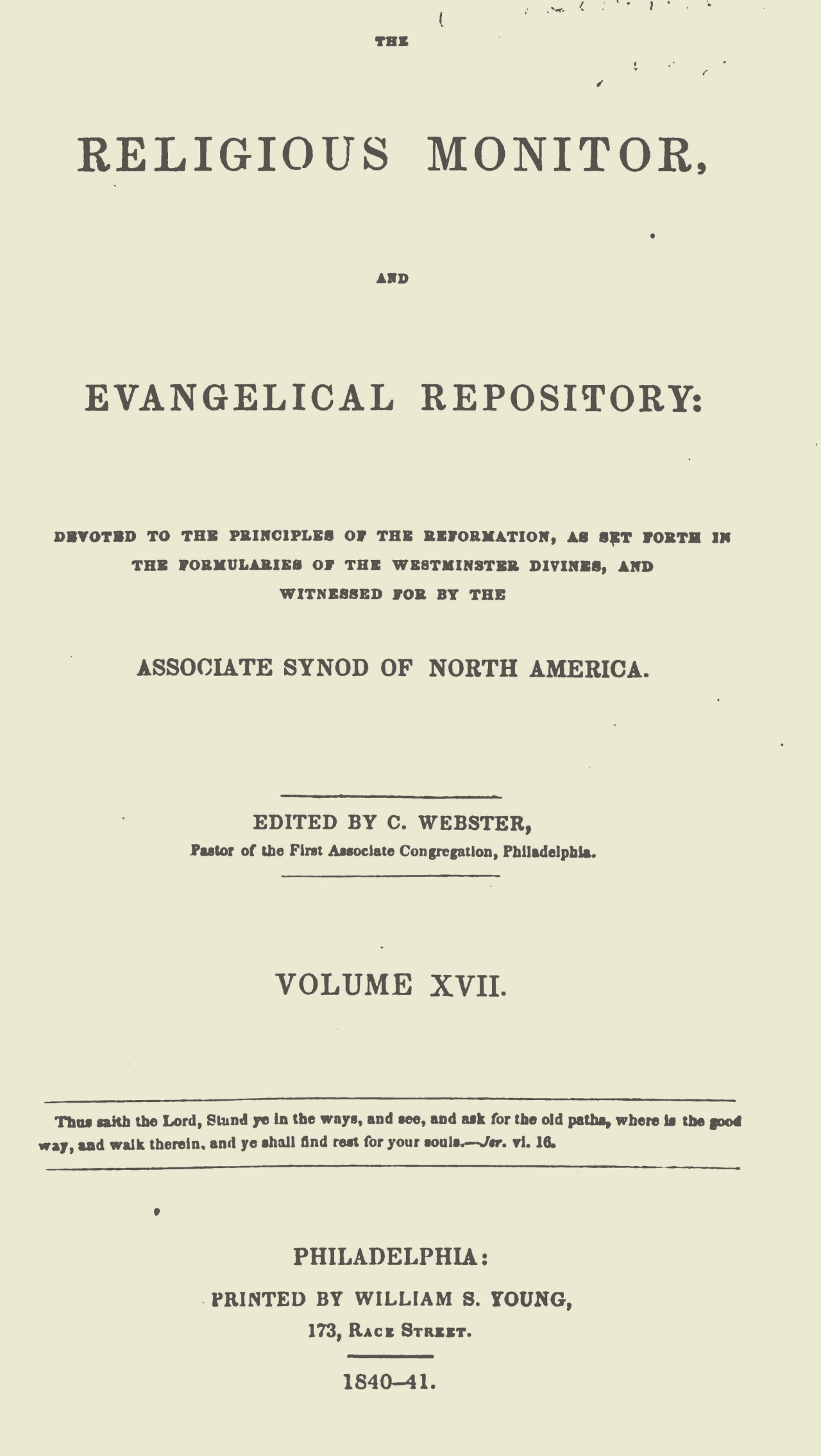 Webster, Chauncey, The Religious Monitor, and Evangelical Repository, Vol. 17 Title Page.jpg