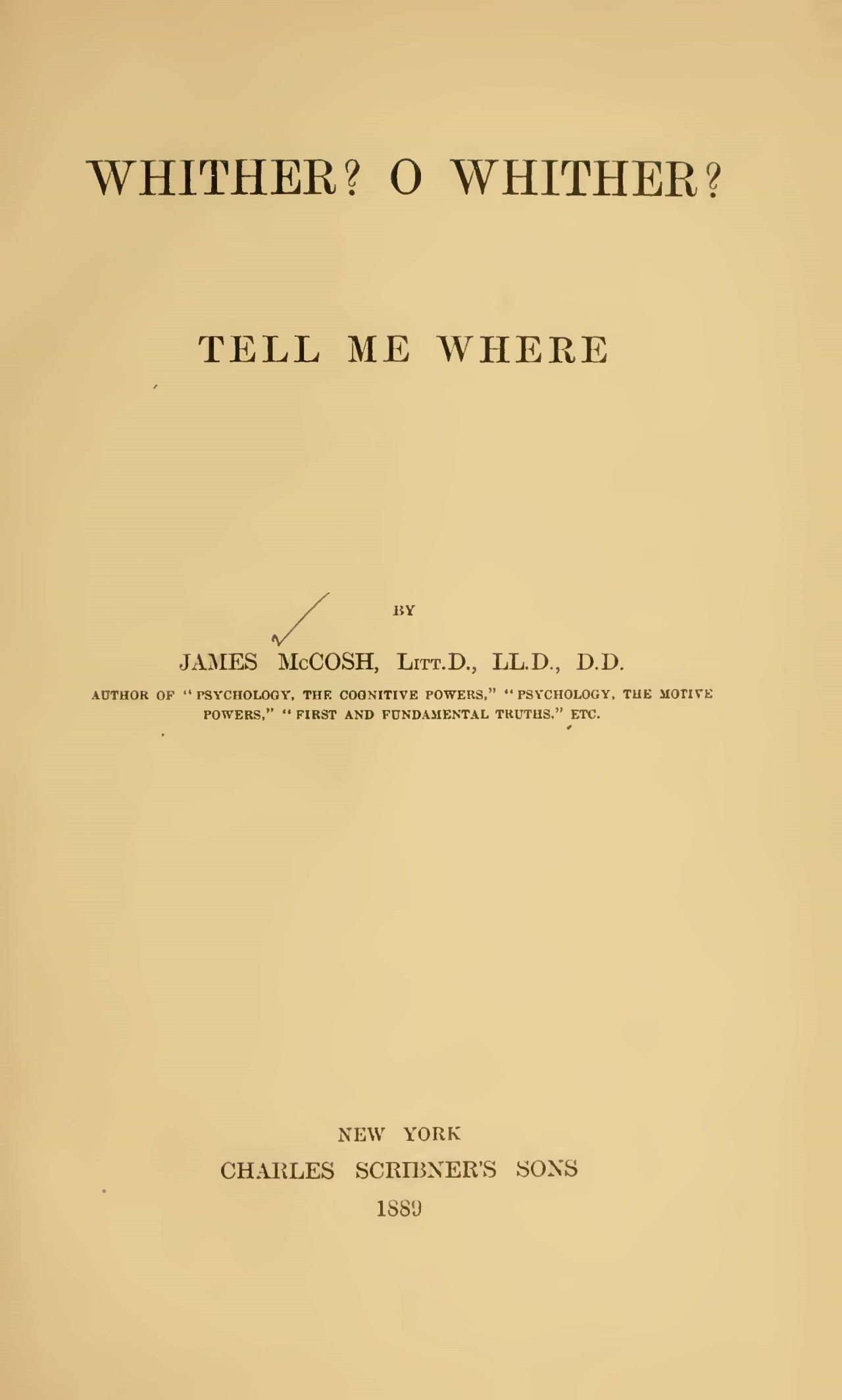 McCosh, James, Whither O Whither Tell Me Where Title Page.jpg