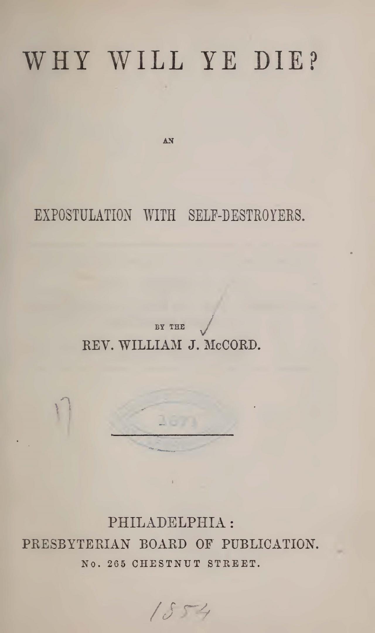 McCord, William J., Why Will Ye Die Title Page.jpg