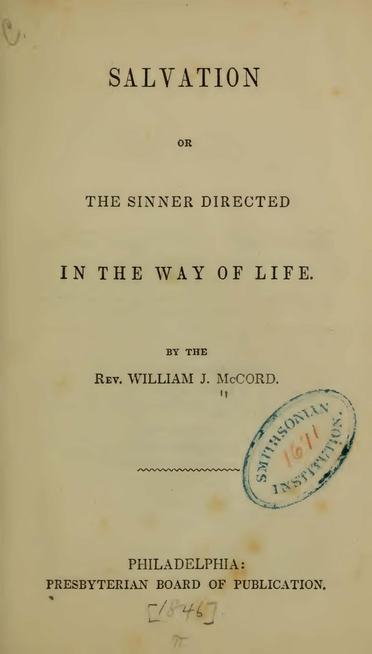 McCord, William J., Salvation Title Page.jpg
