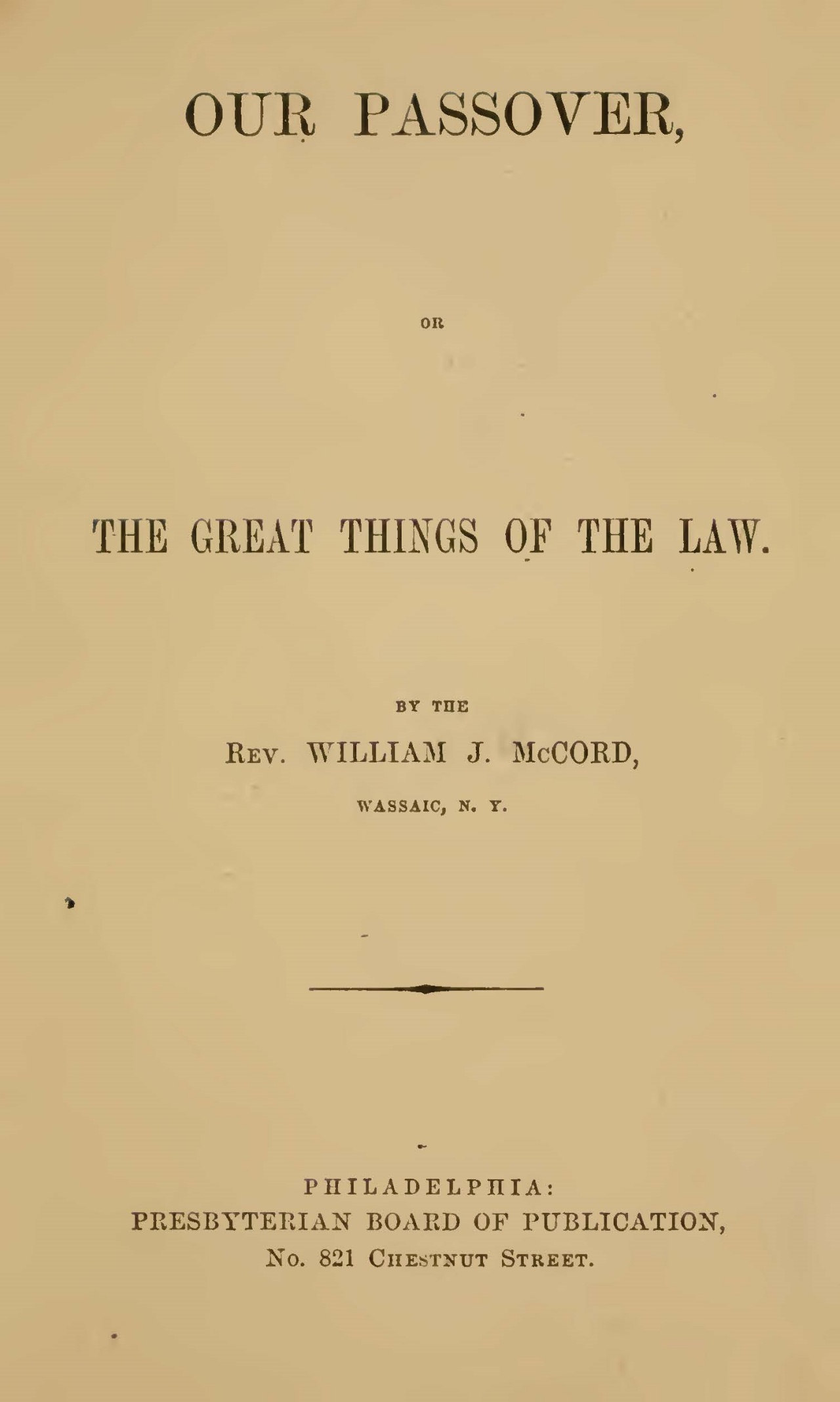 McCord, William J., Our Passover Title Page.jpg