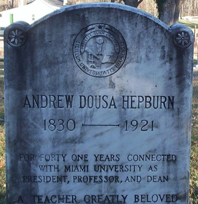 Andrew Dousa Hepburn is buried at Oxford Cemetery, Oxford, Ohio.