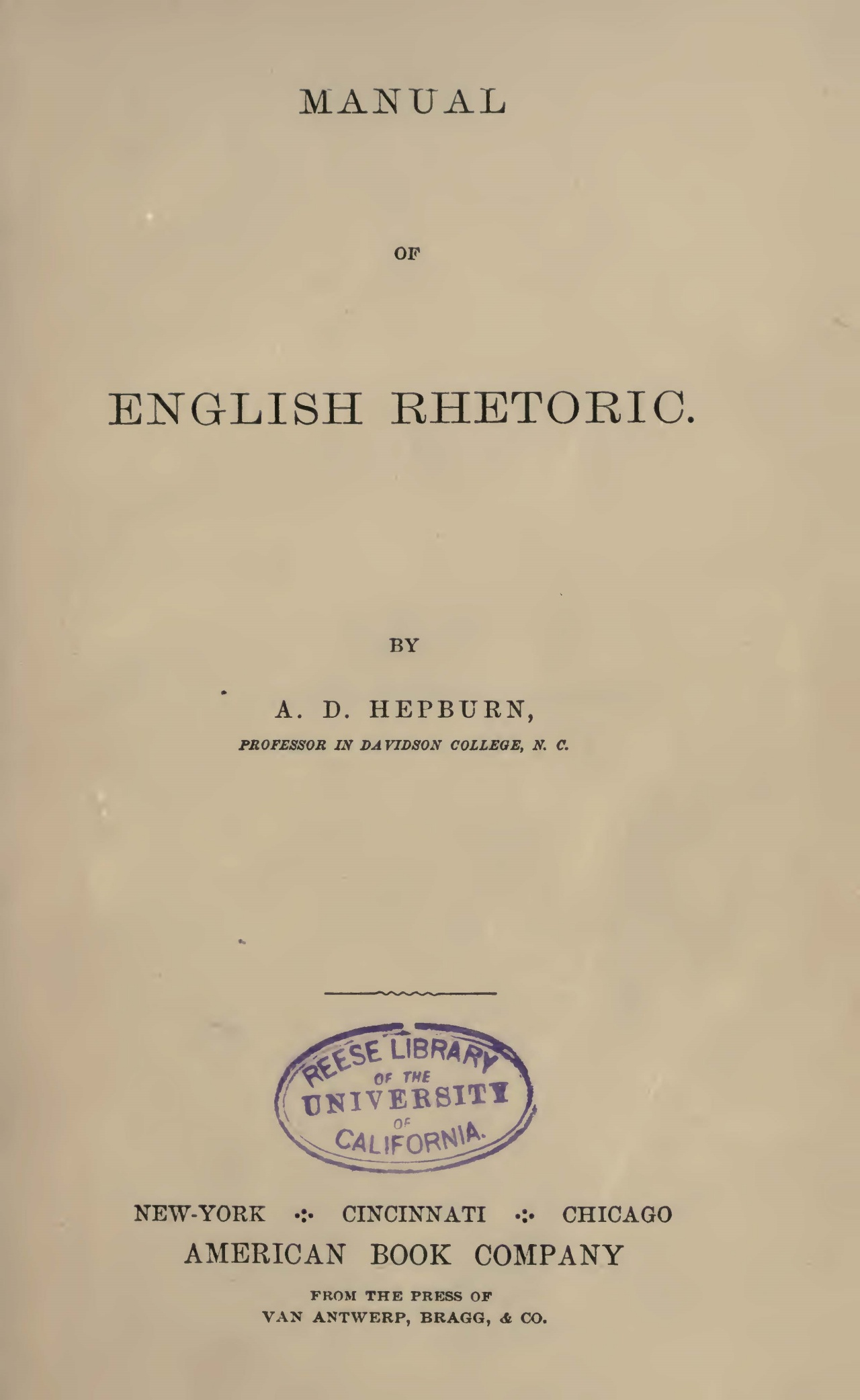 Hepburn, Andrew Dousa, Manual of English Rhetoric Title Page.jpg