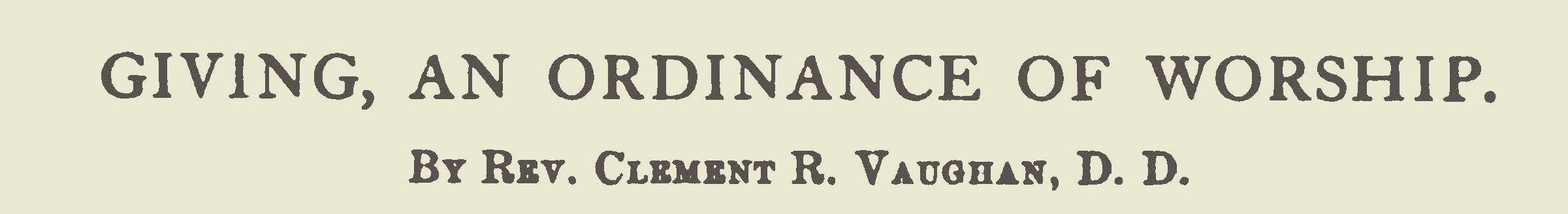 Vaughan, Clement Read, Giving, An Ordinance of Worship Title Page.jpg