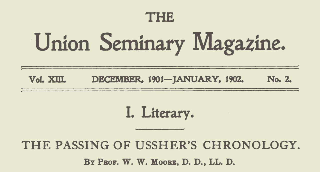 Moore, Walter William, The Passing of Ussher's Chronology Title Page.jpg