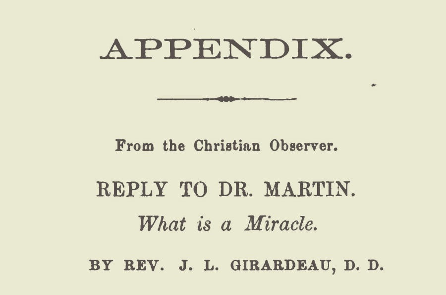 Girardeau, John Lafayette, Reply to Dr. Martin What is a Miracle Title Page.jpg