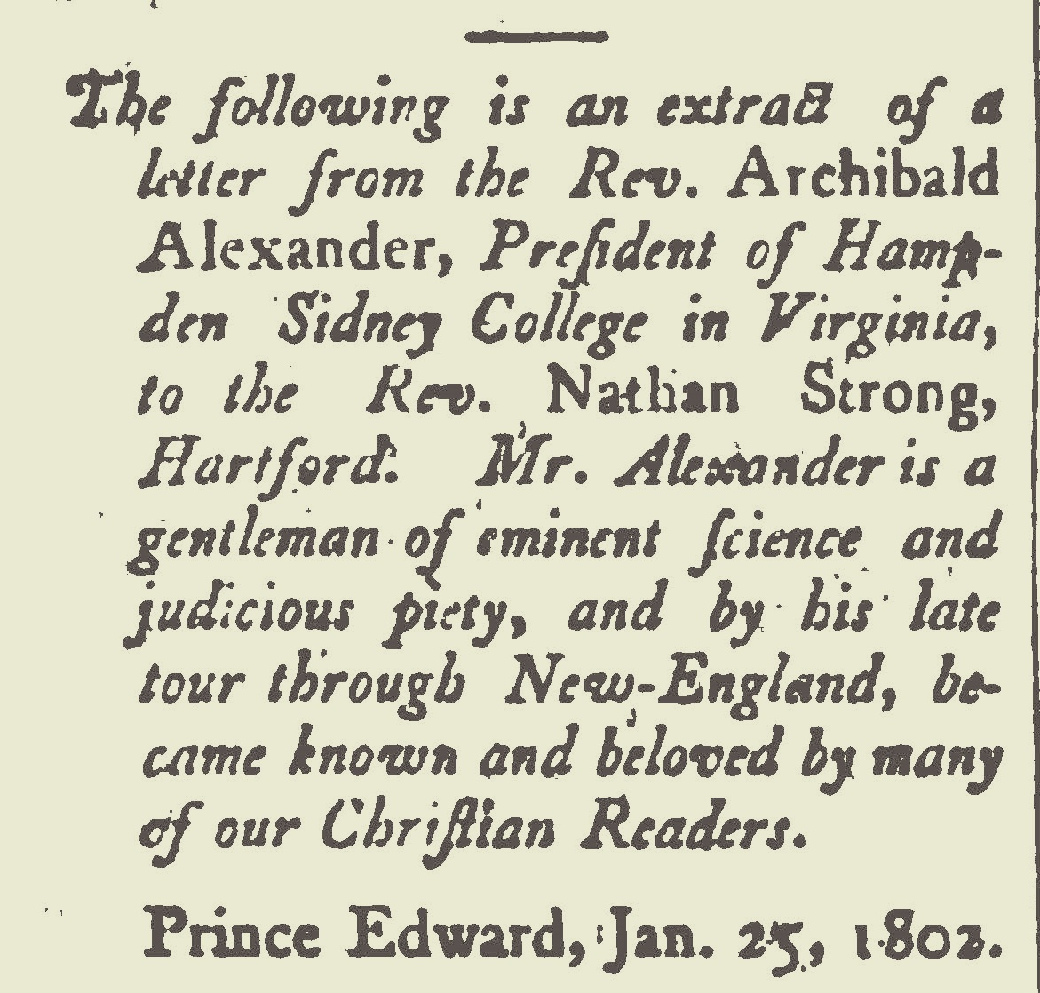 Included in Archibald Alexander's letter is a copy of George A. Baxter's letter on the Kentucky Revival.