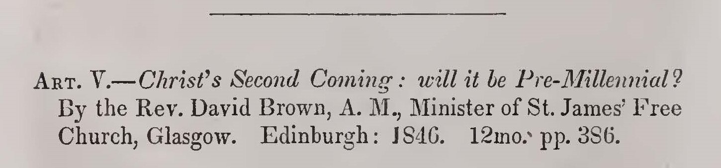 Alexander, Archibald, Review of David Brown's Christ's Second Coming Title Page.jpg