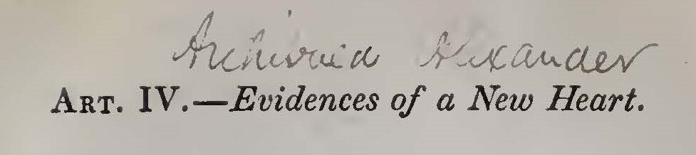 Alexander, Archibald, Evidences of a New Heart Title Page.jpg