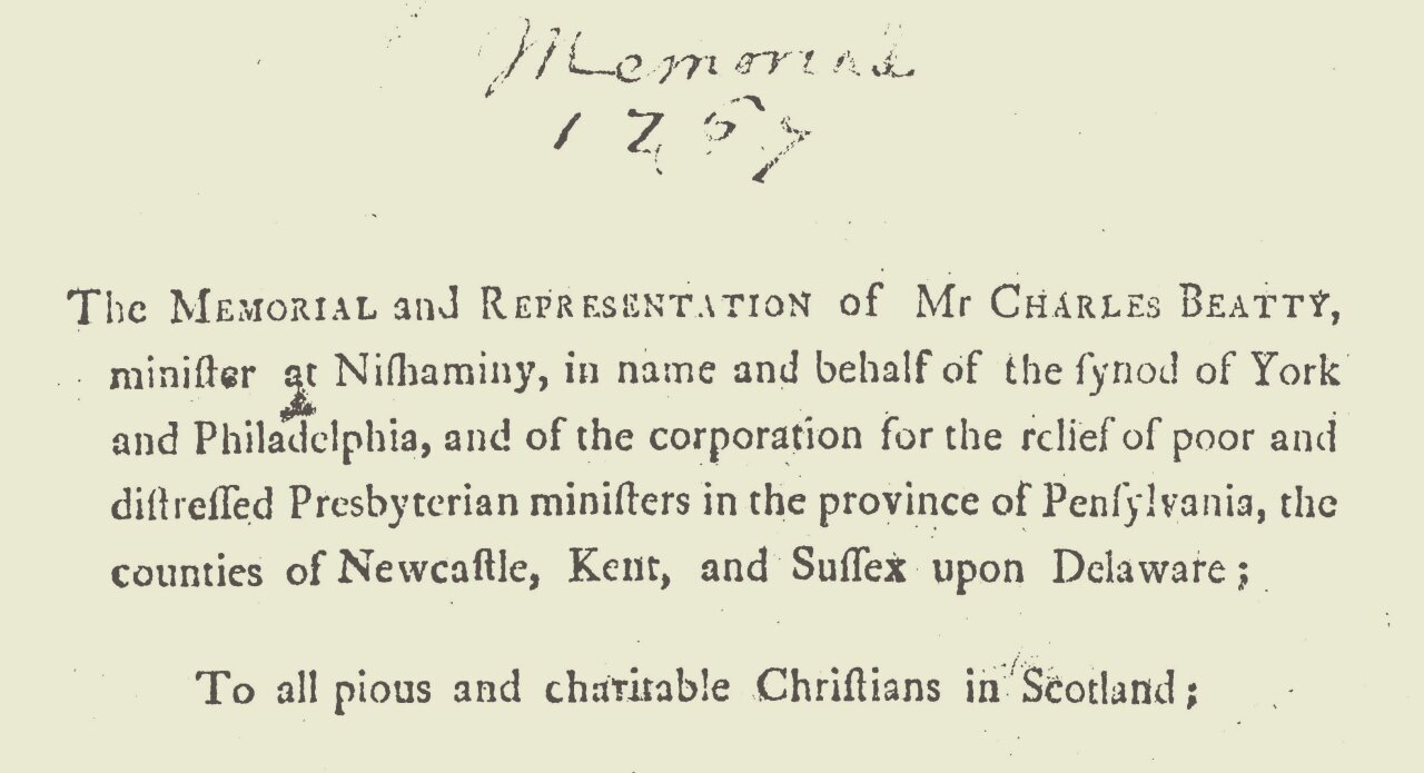 Beatty, Charles Clinton, Memorial and Representation of Mr. Charles Beatty Title Page.jpg