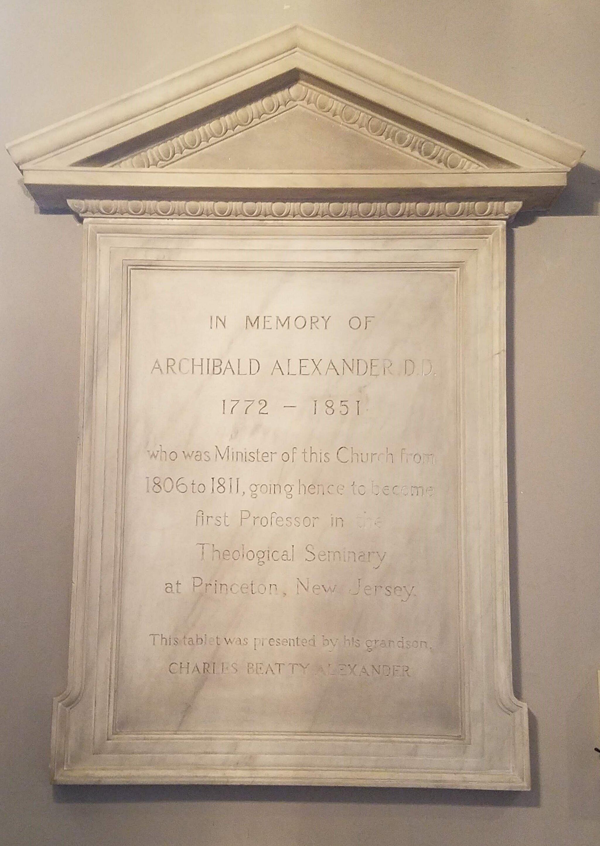 Commemorative tablet at the Old Pine Street Presbyterian Church, Philadelphia, Pennsylvania (photo credit: R. Andrew Myers).