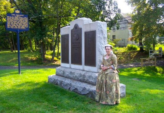 Wendy Wirsch portrays Mrs. Catherine Tennent at the Log College Monument (courtesy of Wendy Wirsch).
