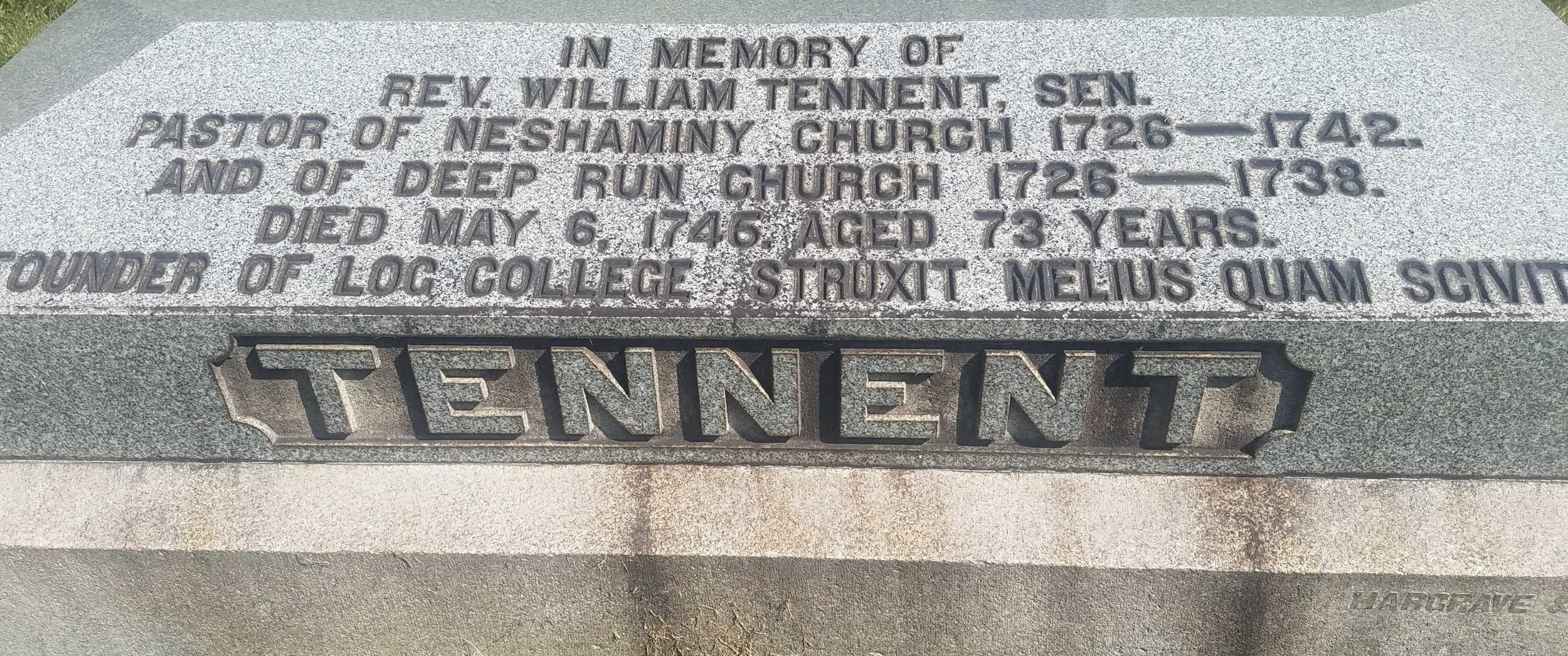The grave of William Tennent, Sr. (photo credit: R. Andrew Myers).