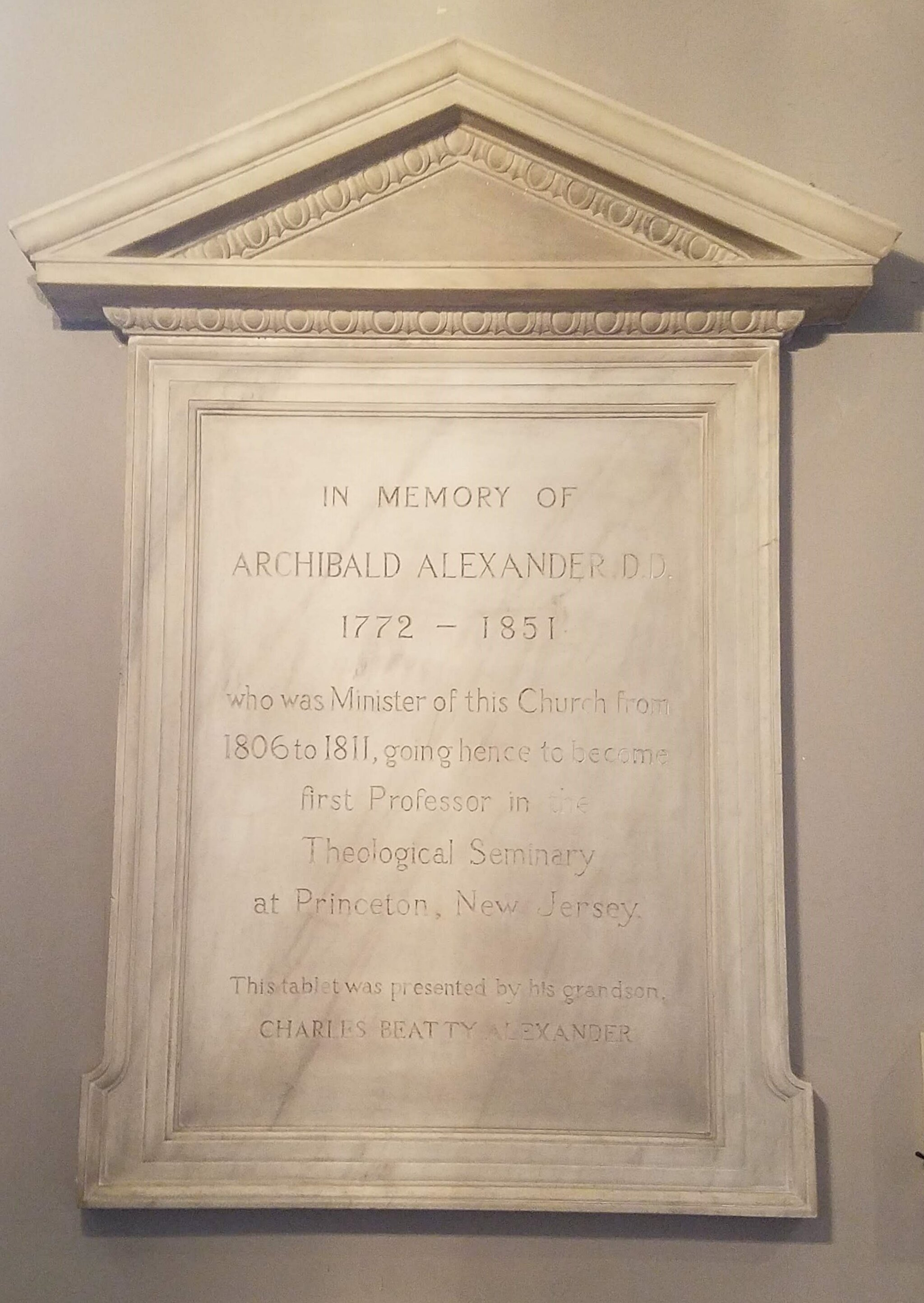 Interior commemorative plaque honoring Archibald Alexander (photo credit: R. Andrew Myers).